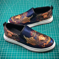 Versace Velvet Print Fabric Shoes - Best Online Sale