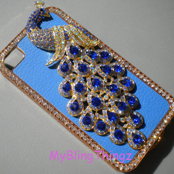 For Apple iPhone 4 4S - Exquisite Crystal Diamond Rhinestone Sapphire BLING 3D Peacock on Blue Leather and Gold Back Case Cover