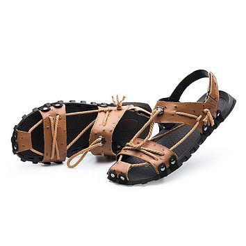 Genuine Leather Sandals Shoes Closed Toe Leather Male Sandal Summer Beach Men Shoes Flats Men Sandals