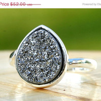 15% off LABOR DAY SALE Silver Druzy Ring,Drusy Ring,Drusy Quartz,Agate Ring,Gemstone Ring,Geode Ring,statement ring,925 Sterling Silver