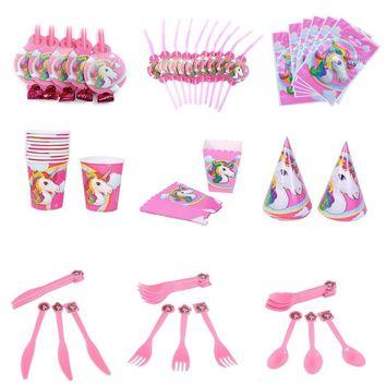 Attractive Unicorn Theme Party Supplies Decoration Happy Birthday Paper Cup Plate Hat Box