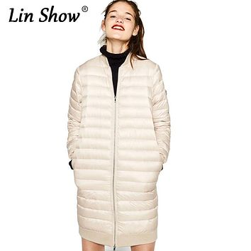 LINSHOW Fashion Long Women Down Jackets Solid 2016 Winter Warm Slim Parkas Padded Quilted Zipper Outwear Warm Thick Ladies Coats