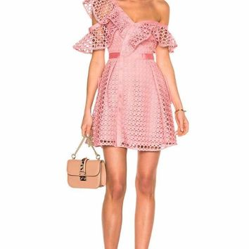 Zari Lace Ruffled One Shoulder Mini Dress