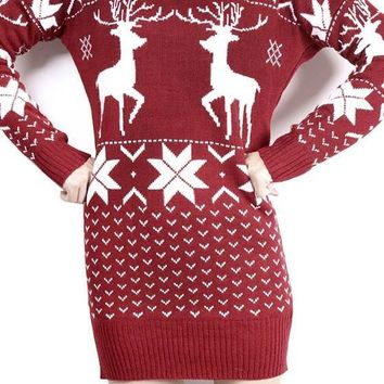 Streetstyle  Casual New Women Floral Christmas Deer Snowflake Cute Mini Sweater Dress