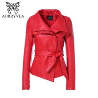 AORRYVLA Jackets For Women Autumn 2018 Brand Leather Jacket Gothic Large Turn-Down Collar Sashes Short ladies leather Coat