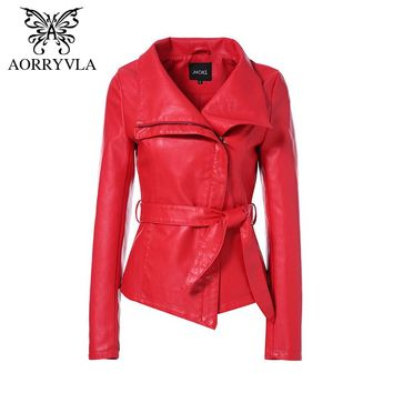 AORRYVLA Jackets For Women Brand Leather Jacket Gothic Large Turn-Down Collar Sashes Short ladies leather Coat