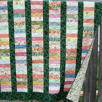 Chinese Coin Lap Quilt - Pastel strips with Ginkgo Leaves
