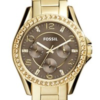 Women's Fossil 'Riley' Round Crystal Bezel Bracelet Watch, 38mm - Gold/ Taupe