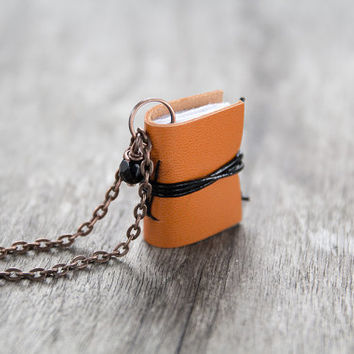 Leather miniature book necklace, mini book jewelry, book lover literature eco friendly necklace pendant, steampunk journal necklace pumpkin