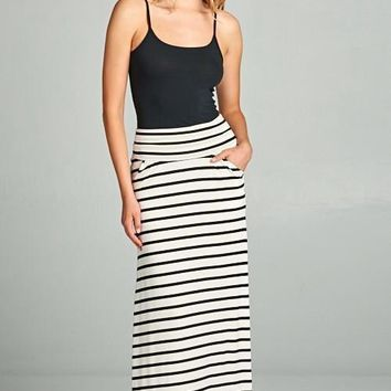 Ivory/Black Striped Maxi Skirt (final sale)
