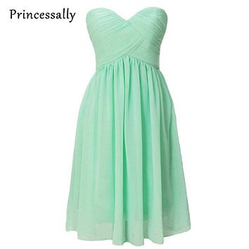 Mint Green Bridesmaid Dresses Knee Length Strapless Pleated Vestido De Festa De Casamento Cheap Graduation Prom Dresses Under 50