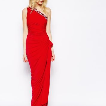 Jessica Wright Katia One Shoulder Maxi Dress with Embellishment