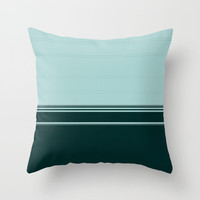 Bold Teal Green Stripes Throw Pillow by Sheila Wenzel
