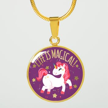 Life is magical, cute unicorn design gold steel pendant necklace or bracelet