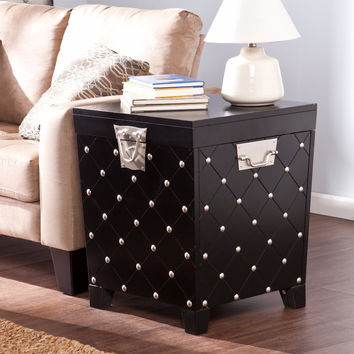 Nailhead End Table Trunk - Black & Satin Silver