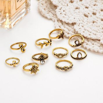 New Trendy Starfish Shape Ring Set Crystal Cover Bowknot Midi Ring Boho Punk Female Ring Women Finger Jewelry for Wedding Party