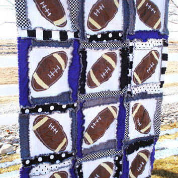 Rag Quilt PATTERN, Football Baby Blanket, Sewing Instructions, PDF, Instant Download
