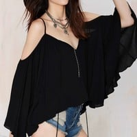Ticket to Ride Peasant Blouse - Black