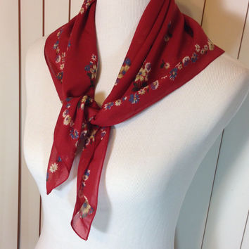 Vintage Brick Red Scarf with Small Yellow and Gray Flower Trim