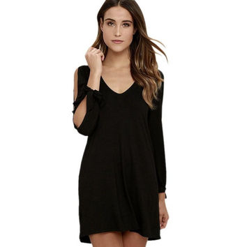 Solid   Elegant Dress Women Sexy Off Shoulder Long Sleeve Loose V neck Mini Dress Ladies Robe Femme #43 GS