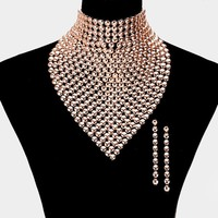 Gold Plated Studded  Bib Necklace