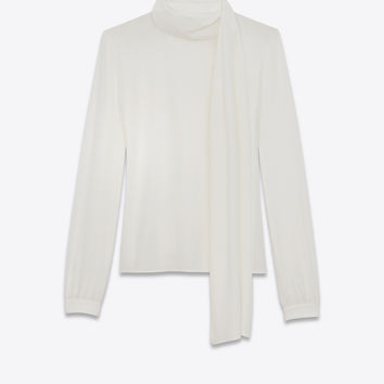 Scarf Blouse in Shell Silk Crêpe