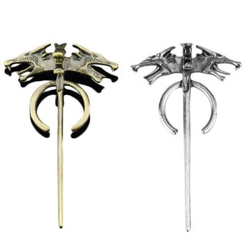 Song of Ice and Fire Game of Thrones Daenerys Targaryen Mother Dragon Badge Vintage Wolf Pin Men Brooch Women Female