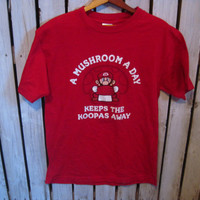 Mario Brothers T-Shirt, Size Medium, A Mushroom A Day Keeps the Koopas Away