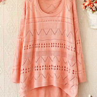 LOOSE EDGE ROUND NECK LONG SLEEVE HOLLOW-OUT BEIGE SWEATER -DS
