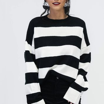 It's Fate Black & White Stripe Sweater