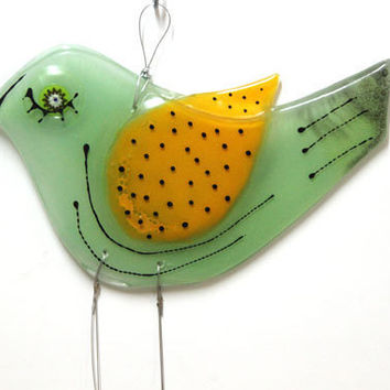 Fused Glass Windchime Suncatcher green  bird by virtulyglass