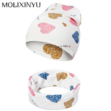 MOLIXINYU 2pcs Baby Hat Scarf Infant Cotton Scarf Baby Beanies Hat Boys Girls Children Hat Scarf Set Baby Girls Cap Photo Props
