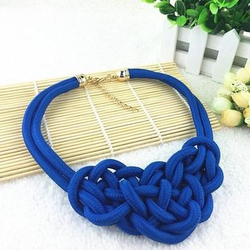 """16"""" blue braided rope collar necklace"""