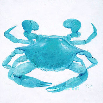 Crab painting, coastal decor, beach bathroom decor, beach cottage decor,beach decor,coastal wall art,coastal cottage decor,beach house decor