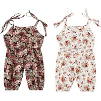Newborn Baby Girls romper Floral Strap Jumpsuit baby clothing baby Romper Harem Pants Clothes Infant Outfit
