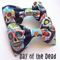 Day of the Dead vintage print handmade fabric hair bow or bow tie