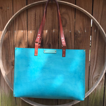 Leather Turquoise Oak Tote* Leather Tote* Handbag* Large Purse* Leather Bag* Large Tote* Handmade in the USA