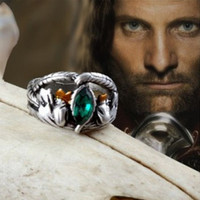 Hot vintage antique silver green crystal Aragorn ring of Barahir the lord of rings fashion men ring lover jewelry Arwen ring