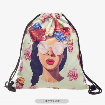 New 3D Printing Hipster Girl Drawstring backpack