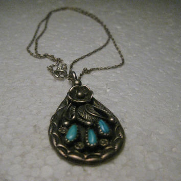 """Vintage Sterling Silver Southwestern Petit Point Turquoise Pendant on 18"""" Chain, 10.88 gr., 1960-1970's"""