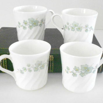 Corelle Ivy Green Vintage Corning Ware Set of Four Teacups