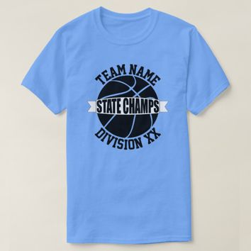 Light Blue Basketball State Championship Team T-Shirt