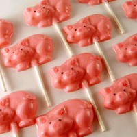 12 Oink Oink Pig Chocolate Lollipops by SuckersbySteph on Etsy