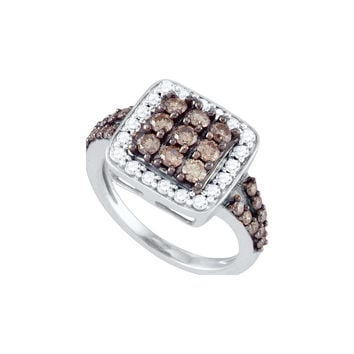 10k White Gold Womens Cognac-brown Diamond Square Cluster Cocktail Ring 1-5/8 Cttw 70950
