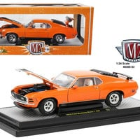 1970 Ford Mustang Mach 1 428 Grabber Orange 1-24 Diecast Model Car by M2 Machines