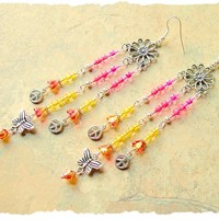 Boho Colorful Beaded Earrings, Handmade Long Chandelier Earrings, Seed Bead Hippie Earrings, bohostyleme, Kaye Kraus