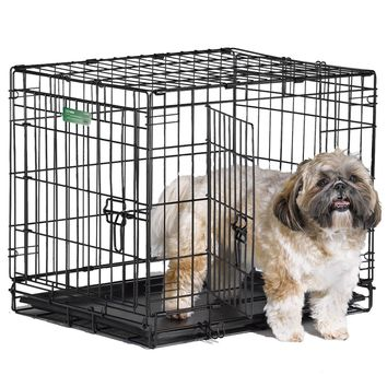 """24"""" Dog Crate 2 Door w/Divide w/Tray Fold Metal Pet Cage Kennel House for Animal"""