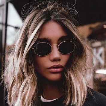 Sunglasses cute sexy retro oval women famous brand small gold black 2018 vintage
