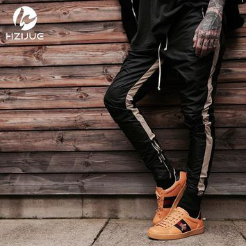 HZIJUE Zipped Ankle Track Pants 2017 High Quality Vintage Contrast Striped Skinny Fit Jogger Free Shipping