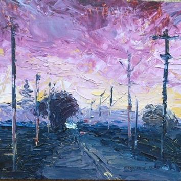 "Reduced ""Peltier Road"" by Marilyn Eger, palette knife oil painting, pink sunrise"